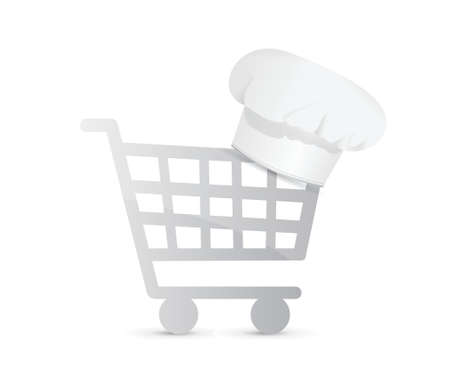 shopping cart icon: shopping for ingredients. illustration design over a white background Illustration