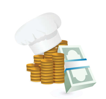 replaceable: Chef profits or restaurants cost concept illustration design over white Illustration