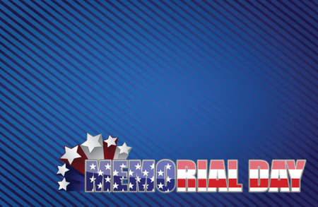 Memorial day red white and blue illustration design graphic background Vector