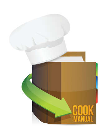 recipe book: chefs hat and cook book manual illustration design over white