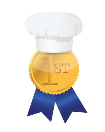 cooking contest 1st place winner ribbon illustration design Vector