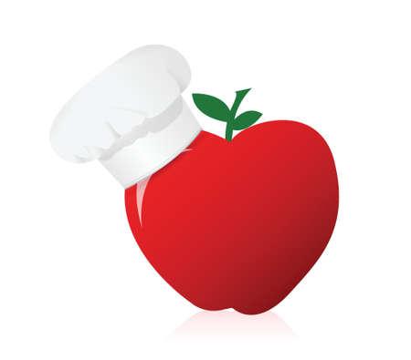 apple wearing a chefs hat. Illustration design over white Vector