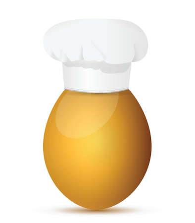 egg wearing a chefs hat. Illustration design over white Illusztráció