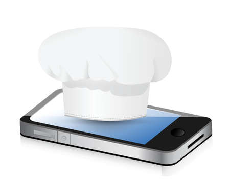 phone button: cooking recipes on your phone. Illustration design over white