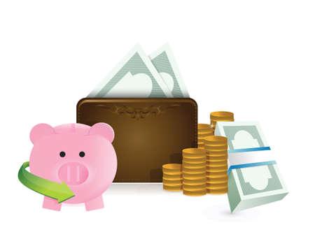 mumps: cartera y dise�o ilustraci�n ahorros en un fondo blanco
