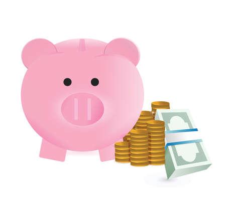 safe investment: piggy bank illustration design over a white background