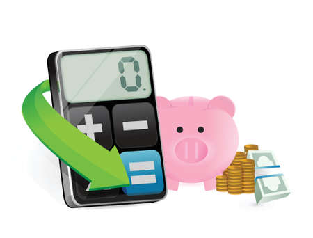 berekening besparing illustratie ontwerp op een witte achtergrond Stock Illustratie