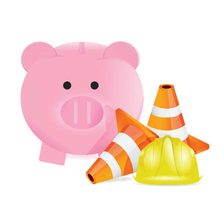 building construction: working on savings illustration design over a white background Illustration