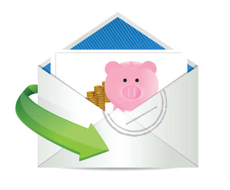 mumps: savings review mail illustration design over a white background
