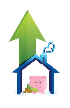 mumps: ahorrar para la compra de la casa de dise�o ilustraci�n sobre un fondo blanco