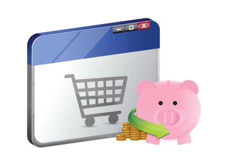 mumps: compras con ahorros en l�nea de dise�o ilustraci�n sobre un fondo blanco