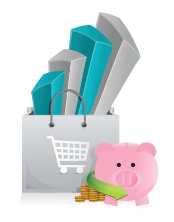 mumps: compras con dise�o ilustraci�n ahorros en un fondo blanco Vectores