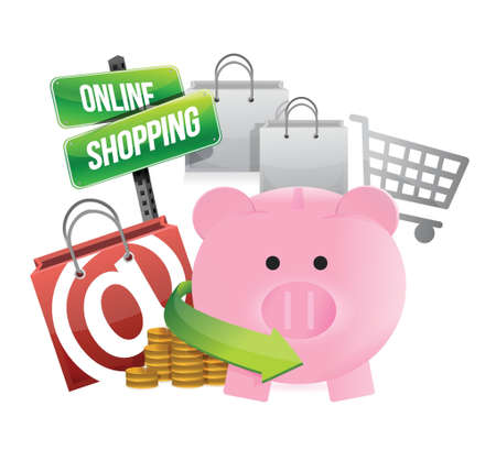 shopping with savings illustration design over a white background Vector