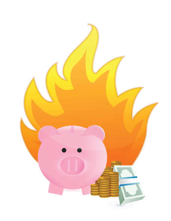 mumps: savings on fire illustration design over a white background Illustration