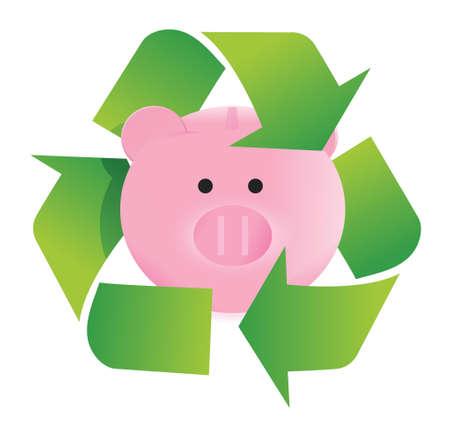 mumps: ahorrar y reciclar dise�o ilustraci�n sobre un fondo blanco Vectores