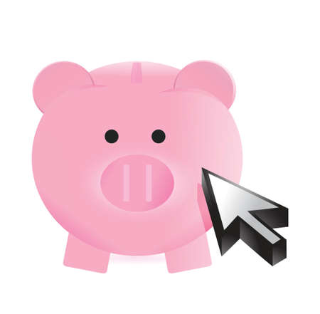 mumps: piggy bank and cursor illustration design over a white background