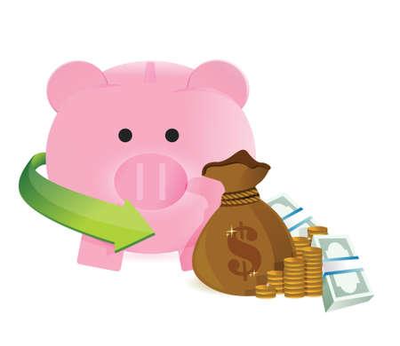 mumps: bolsa de dinero con la ilustraci�n del dise�o de ahorro en un fondo blanco