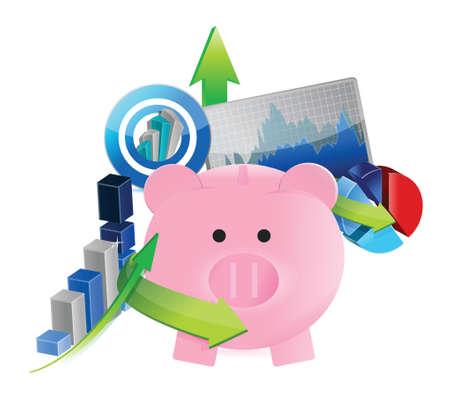 stockmarket chart: business savings set concept illustration design over a white background Illustration