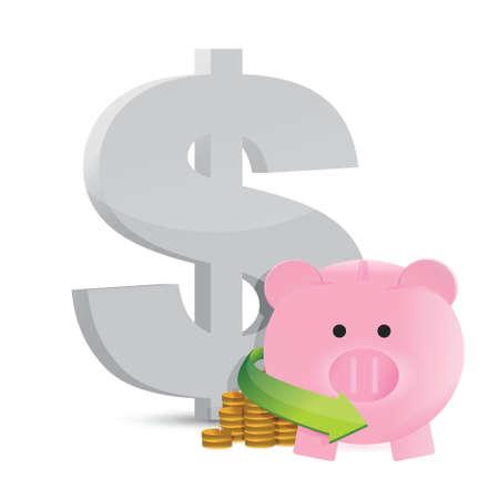 us dollar: dollar savings profits illustration design over a white background Illustration