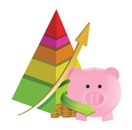 pyramid savings graph chart illustration design over a white background Vector