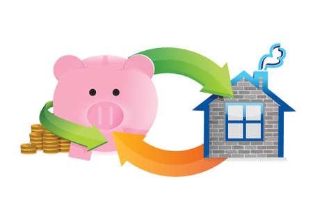 mumps: savings to buy a home illustration design over a white background