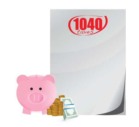 mumps: 1040 los impuestos sobre los beneficios de ahorro beneficios concepto de dise�o ilustraci�n sobre un fondo blanco