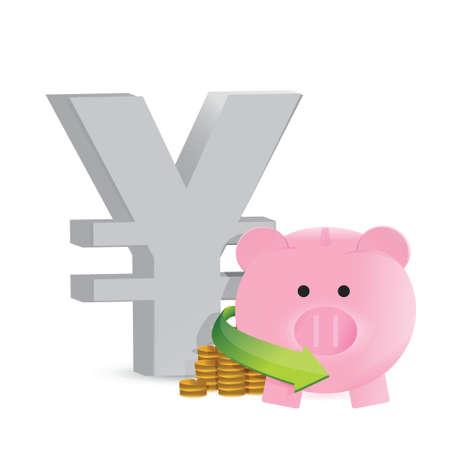 mumps: yen ahorro ganancias dise�o ilustraci�n sobre un fondo blanco