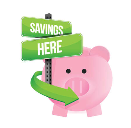 savings here piggy bank illustration design over a white background