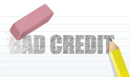 erase bad credit concept illustration design over a white background Çizim