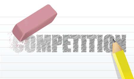 지우기 경쟁 개념 그림 디자인 흰색 배경 위에