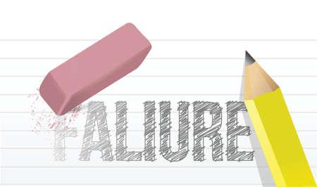 failures: erase failures concept illustration design over a white background
