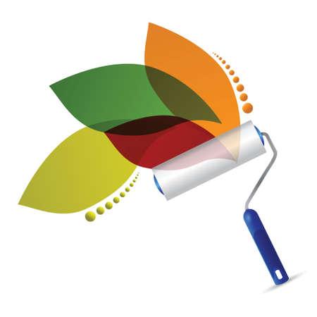 case colorate: rullo di vernice e foglie naturali design illustrazione su uno sfondo bianco