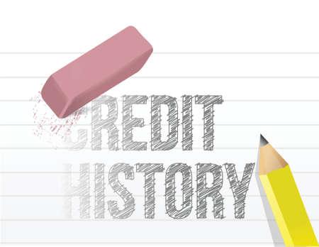 erasing your credit history concept illustration design over white
