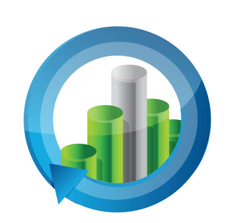 business graph cycle illustration design over white Vector