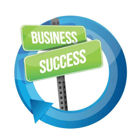 business success road sign cycle illustration design over white