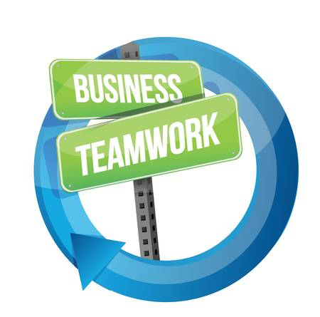business teamwork road sign cycle illustration design over white