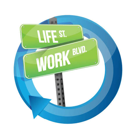 turning point: life and work road sign cycle illustration design over white