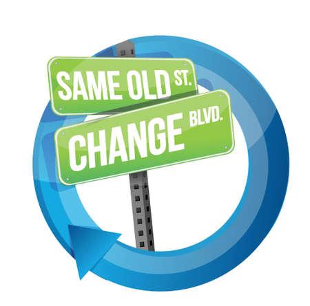dezelfde oude en verandering verkeersbord cyclus illustratie ontwerp op wit Vector Illustratie