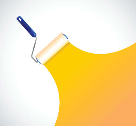 Paint roller and orange paint stripe. illustration design over white Vector