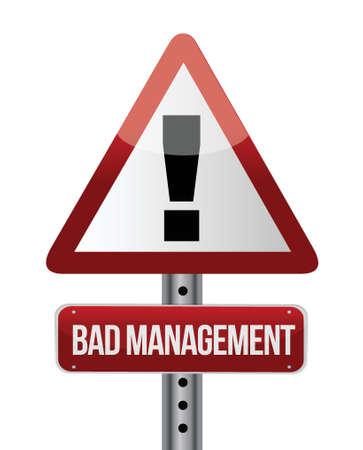 bad management warning road sign illustration design over white Stock Vector - 20046290