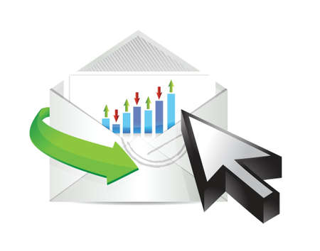 business email with an inside graph and cursor illustration design over white Stock Vector - 20046289