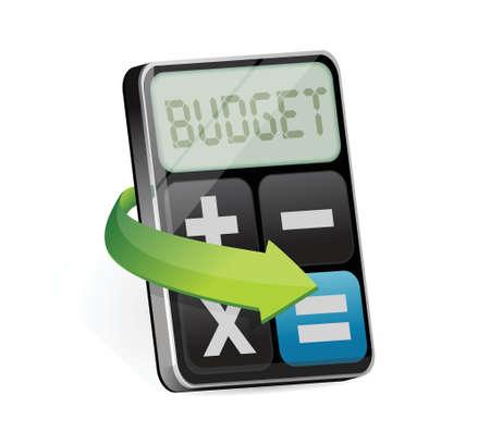 Rekenmachine met woord budget tentoongesteld illustratie ontwerp op wit