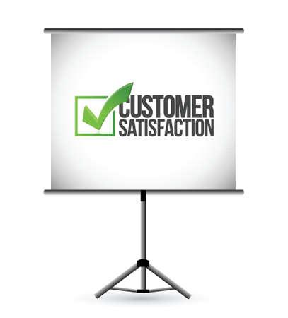 klanttevredenheid vinkje presentatie illustratie ontwerp op een witte