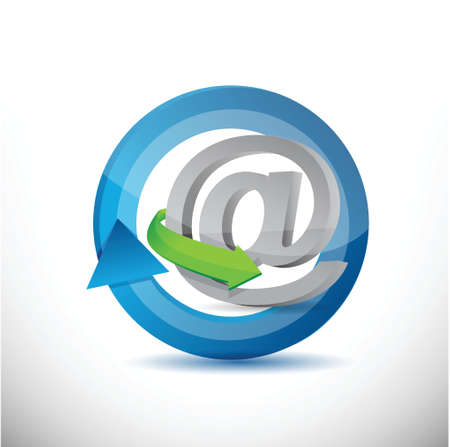 move arrow icon: Email, contact us cycle concept illustration design over white Illustration