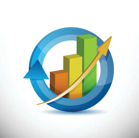 Colorful Business arrow cycle graph illustration design over white Vector