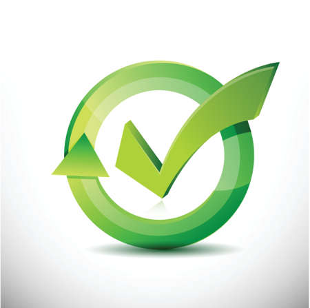 check mark – approval sign cycle illustration design over white 向量圖像
