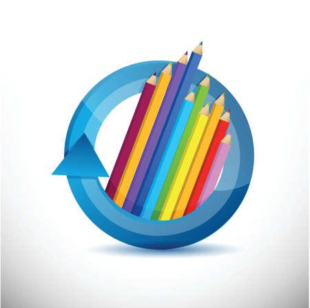 wood turning: color pencils education concept illustration design over white