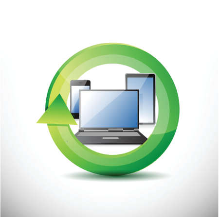 technology on the move. Illustration design over white Stock Vector - 20046335