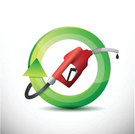 öko: natürliche Drehung mit einem Gas-Pumpe-Düse-Illustration, Design über einem weißen Hintergrund