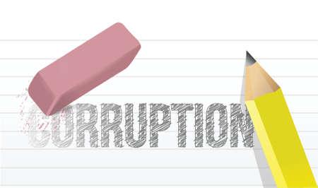corrupcion: erase corrupción concepto de diseño ilustración sobre un fondo blanco